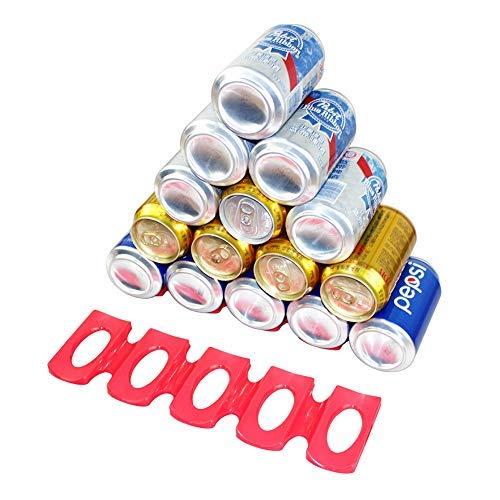 Hihey Silicone flessenhouders, 2 stuks, rode flessenrek, stapelhulp voor flessen of blikjes in de koelkast, voor feestjes, barbecueën en kamperen