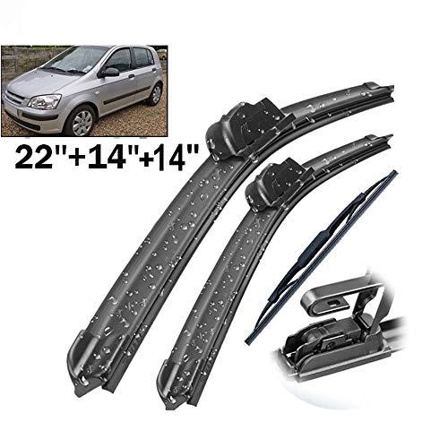 HZHAOWEI Ruitenwisser Voor & Achter Ruitenwisserset Set, Voor Hyundai Getz 2002-2009 Voorruit Voorruit 22