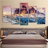 Meaosy Modulare Leinwand Wandkunst Bilder 5 Stücke Glow