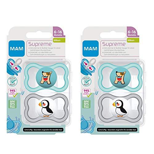 MAM Dental Schnuller Supreme 6-16 Monate, 4er Pack, SkinSoft Silikon, haut- und zahnfreundlicher Schnuller, neutral