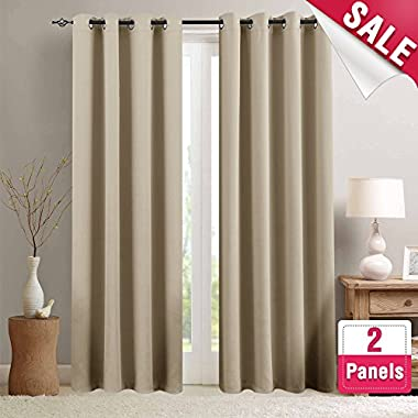 Moderate Blackout Curtains for Living Room 84 inch Length Bedroom Window Curtains Triple Weave Room Darkening Curtain Panels Thermal Insulated Grommet Top Drapes, Taupe, 1 Pair