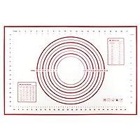 tappetino da forno in silicone per pasticceria (60 x 40 cm), extra grande stuoia di rolling della pasticceria del silicone, antiaderente, resistente al calore, facile da pulire, riutilizzabile(rosso)
