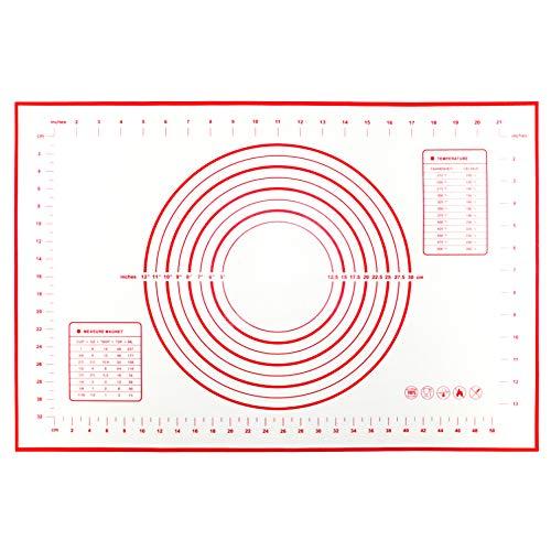 Grand Tapis de Cuisson en Silicone (60x40cm), Anti-Adhérent Réutilisable Excellente Ténacité et Résistance à la Déchirure Pâtisserie Tapis (Rouge)