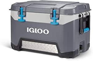 Igloo BMX 52 Quart Cooler with Cool Riser Technology, Fish Ruler, and Tie-Down Points - 16.34 Pounds - Carbonite Gray and Blue