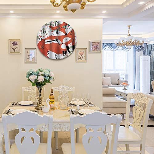 LUHUN Reloj de Pared diseño Moderno de 30 cm, Cherry and Fox Cute mamá y niño Flores Garland,Reloj de Pared silencioso Digital, Utilizado en la Sala de Estar la Cocina