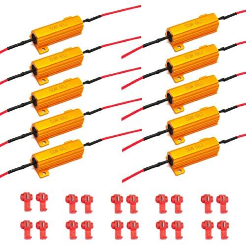 AIRKOUL 50W 6ohm Load Resistor-Fix LED Bulb Fast Hyper Flash Turn Signal Blink Error Code, 10pcs, Amber