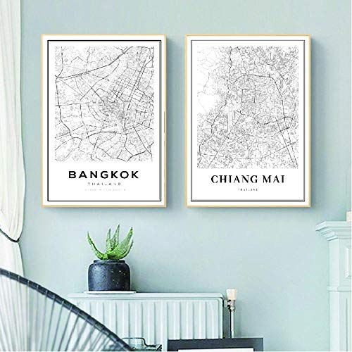 kldfig Bangkok Map Posters en afdrukken Thailand Travel City Map Canvas Schilderij Moderne Chiang Mai Map Afbeelding Home Wall Art Decor-40 * 50cm niet ingelijst-2stuks