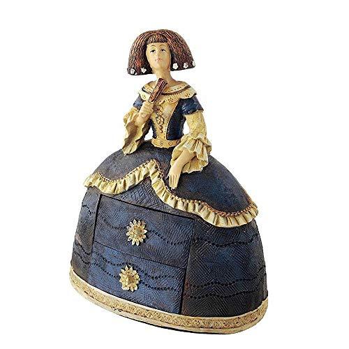 Tiendas LGP-Figura de Menina Decorativa en Resina, con Dos cajones para joyero, Tonos Azules, Decorada a Mano, 24 cm.