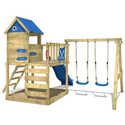WICKEY Spielturm Klettergerüst Smart Cave mit Schaukel & blauer Rutsche, Baumhaus mit Sandkasten, Kletterleiter & Spiel-Zubehör - 4