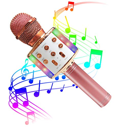 ZMLM Wireless Bluetooth Karaoke Microphone with LED Light - 5 in 1...