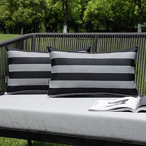 MIULEE Pack of 2 Outdoor Waterproof Cushion Covers Stripe Throw Pillow Cover Pillow Case Decorative for Garden Beach Park Bed Sofa Chair Bedroom Pillowcases 30x50 cm 12x20 inch Grey and Black