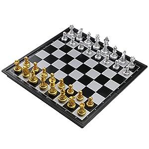 Fajiabao Schachspiel Magnetisch Einklappbar Schachbrett Pädagogische Speil für ab 6 Kinder 25x25cm