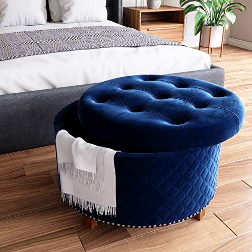 Nost & Host 30'' Large Elegant Ottoman with Storage Round Velvet Removable Button Tufted Lid Embossed Rhombus Upholstered Fabric Coffee Table Cocktail Ottoman Footrest Chest Storage Stool, Blue