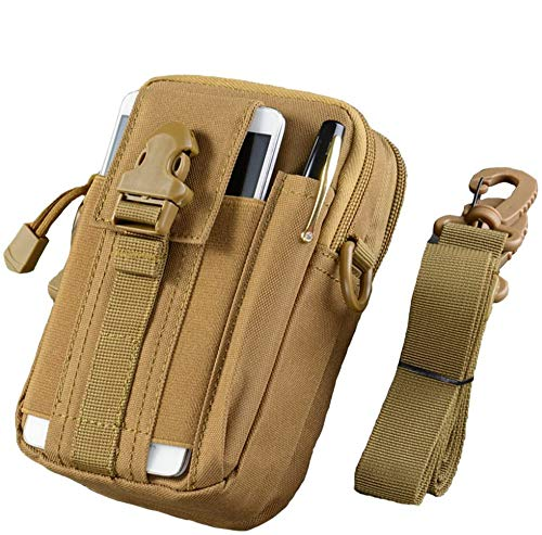 WOSHUAI Bolsa de cinturón de Color Caqui Deportes Colgar Bolsillos Tactical Molle EDC Pouch Utilidad Gadget CINTURÓN Bolsa de Cintura con teléfono Celular Funda para Deportes Senderismo Camping