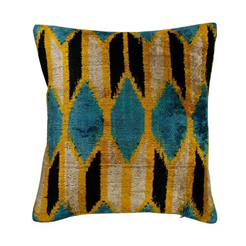 mitienda mit Liebe gemacht Ikat - Cojín tejido a mano de seda aterciopelada azul mostaza, cojín de 35 x 37 cm, de seda y terciopelo
