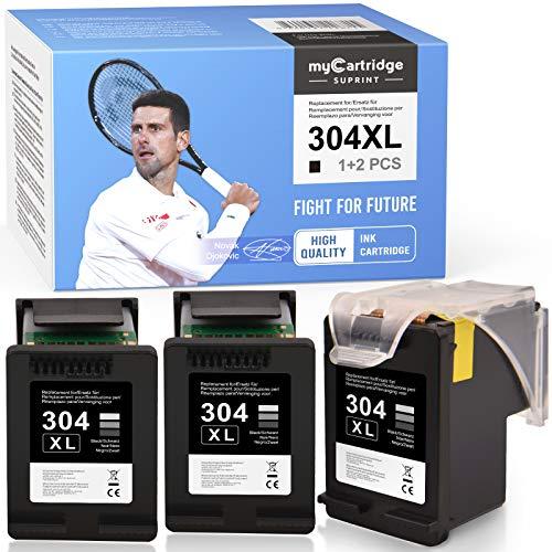 myCartridge SUPRINT 304 304XL wiederaufbereitete Tintenpatronen Ersatz für HP 304 304XL kompatible Druckerpatronen für HP DeskJet 2620 2630 3720 3730 3735 HP Envy 5020 5030 5032(3 Schwarz)