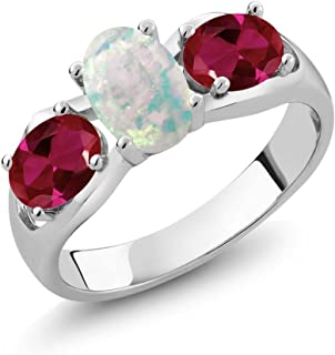 Gem Stone King 1.63 Ct Oval Cabochon White Simulated Opal Red Created Ruby 925 Sterling Silver Ring