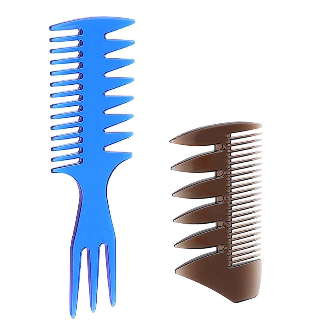 重なる船尾葉を拾うT TOOYFUL 2本 男性の油性の髪 櫛のサロンの色素 整髪美容整形幅広い歯