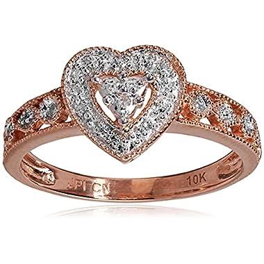 10k Gold Diamond Heart Ring (0.04 cttw, I-J Color,...