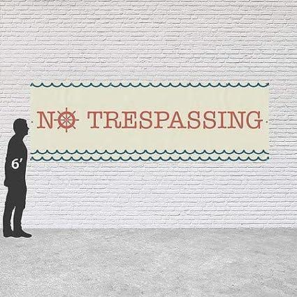Nautical Wave Heavy-Duty Outdoor Vinyl Banner CGSignLab 12x4 No Trespassing