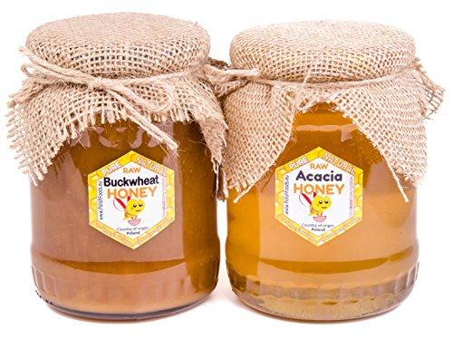 Miele di grano saraceno & acacia 2 pack. 2 x 1kg. Miele direttamente dal polacco direttamente dal apicoltore. Non pastorizzato, biologico, naturale, organico. Molto sano e gustoso.