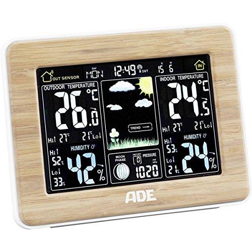 ADE Wetterstation mit DCF-Funkuhr, bambus, 16,5x22x5,3 cm