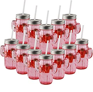 Circleware 06367 Huge Set of 12 Mason Jars Drinking Glasses with Metal Lids and Hard Straws Glassware for Water Beer and Kitchen & Home Decor Bar Dining Beverage Gifts, 15.5 oz, Pink Cactus (B07FMQ8MCB) | Amazon price tracker / tracking, Amazon price history charts, Amazon price watches, Amazon price drop alerts