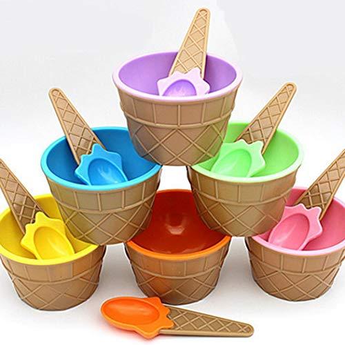 ADOLENB Tazón de helado de color caramelo de dibujos animados con herramienta de helado para niños de cuchara Cucharas de helado