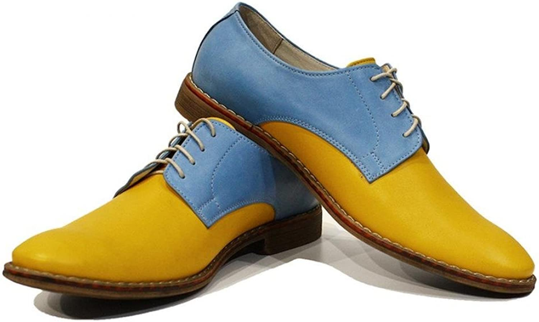 Modello Gino - Handgemachtes Italienisch Bunte Herrenschuhe Lederschuhe Herren Gelb Oxfords Abendschuhe Schnürhalbschuhe - Rindsleder Weiches Leder - Schnüren