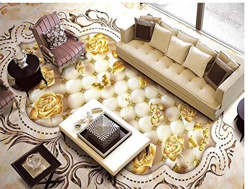 Vloerbedekking van marmer textuur bloem tegels 3D vloer badkamer behang waterdicht 3D vloerkleur plakfolie PVC 300cm(L)x210cm(W)