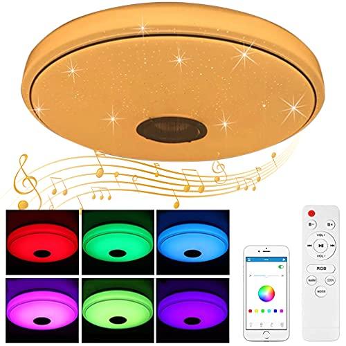 Senlinren - Lámpara de techo LED con altavoz Bluetooth, 60 W, moderna lámpara redonda con mando a distancia RGB, cambio de color blanco cálido, temperatura para salón, habitación de bebé