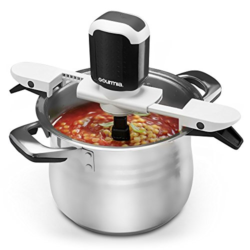 Gourmia GST210 Stiriffic Adjustable Pot & Pan Hands Free Automatic Stirrer - Black, Free Recipe E-book Included