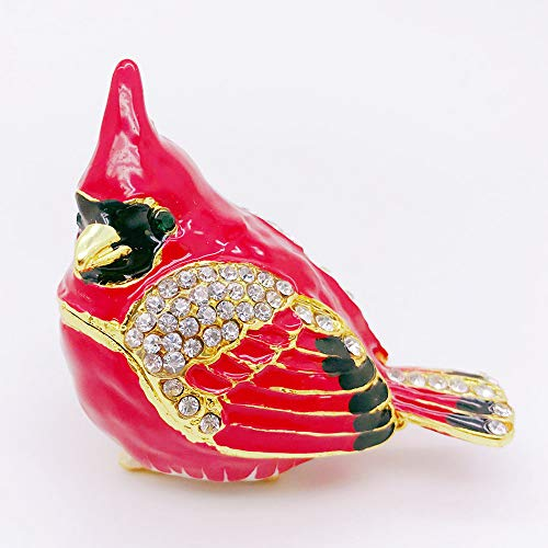 Gishima Cardinal Bird Figurine Trinket Box Collectable Wedding Jewelry Ring Holder Organizer Statues as Gifts or Decor