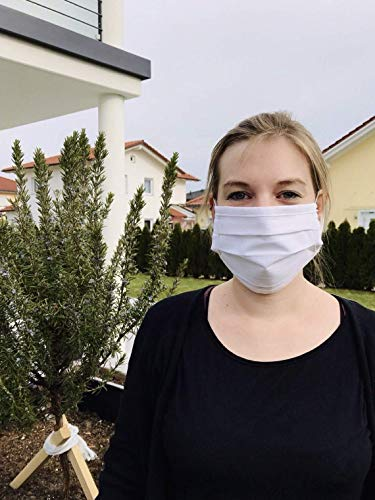 Mund-Nasen-Maske mit Gummiband (5mm) - kochfest - 95°C -Made in Germany