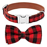 Mihachi Plaid Bowtie Dog Collar Adjustable - Premium Classic Red and Black Plaid with Metallic Buckle Collars for Medium to Large Dogs