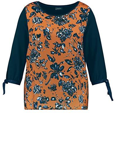 Samoon Damen Blusenshirt mit Schleifenzier leger Navy Gemustert 50
