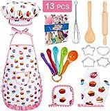YUEHAPPY® Kids Baking Set - Kochset für Kinder, Küchenkostüm Rollenspiele, Kuchen Backen Lebensmittel Service Schürze Küchenutensilien-13 Stück