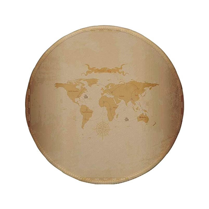 Non-Slip Rubber Round Mouse Pad,World Map,Rustic Antique Vintage Explorer Routes Compass Figure Grungy Display,Light Coffee Sand Brown,11.8