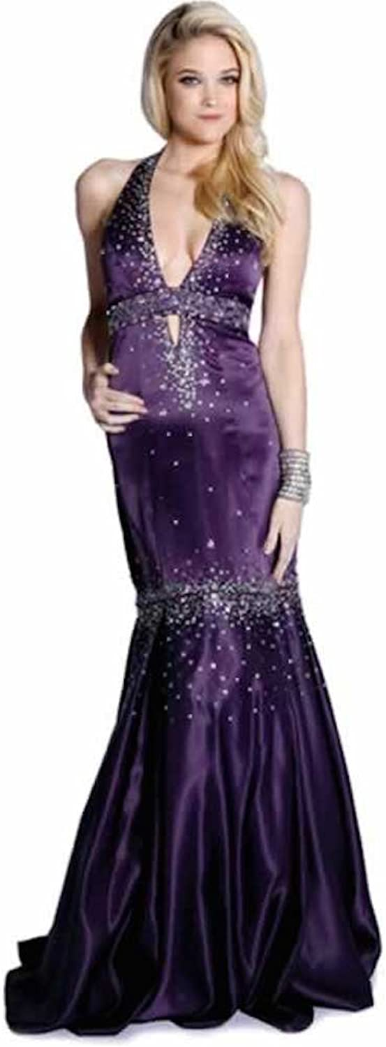 Women Party Wedding Sexy Elegant Strapless Sequin Bodice Floor Length Prom Dress Plum S