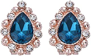 Elegant Women Lake Blue Craft Glaze Crystal Rhinestone Ear Clip Stud Earrings.