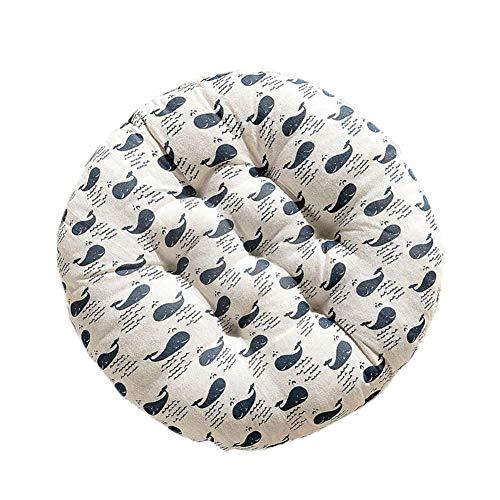 Vinkkatory - Cojín redondo para asiento con lazos, funda extraíble para interior y exterior en el asiento para jardín, patio, cocina, comedor, tatami, 40*40CM