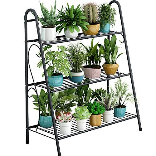 Scaffalatura in metallo con 3 ripiani, scaffale a scala, da parete, per piante, per interni, soggiorno, camera da letto, balcone