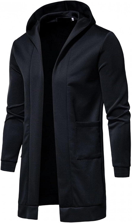 VEKDONE Mens Long Sleeve Plain Lightweight Open Front Longline Hooded Cardigan Autumn and Winter Windbreaker Jackets for Men