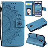 XYX Wallet Case for Galaxy S4,[Totem Flower][Wrist Strap][Kickstand] Premium PU Leather Phone Case for Samsung Galaxy S4 I9500,Blue