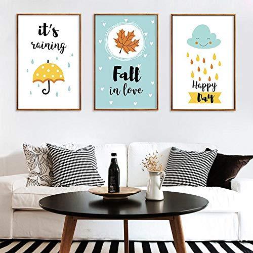 Paraplu Bladverliezende Wind Canvas Schilderij Huis Decoratieve Schilderij, Woonkamer slaapkamers Muur Art Muurfoto Decoratie 50x70cmx3 geen Frame