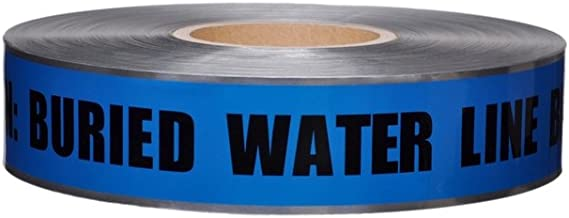 2 in. X 1000 FT. 5 MIL DETECTABLE Safety Tape Caution Buried Water LINE Below Blue/Black Print