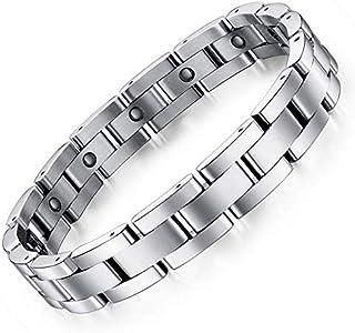 Magnet Stone Man Bracelet Classical Stainless Steel Energy Balance Link Chain Bracelets For Men
