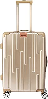 """SRY-Luggage PC Material Simple Trolley Case, Super Storage Bag, Roller Walking Scroll Box, 20"""" 24"""" Inches Durable Carry on Luggage (Color : Gold, Size : 24inch)"""
