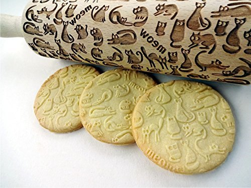 MEOW CATS EMBOSSING ROLLING PIN WOODEN HANDMADE ROLLING PIN with CATS GIFT FOR CAT LOVERS