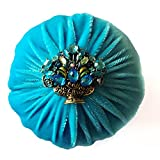 Nakpunar XL Aqua Blue Velvet Emery Pin Cushion for Sewing - Keep Your Needles Clean & Sharp